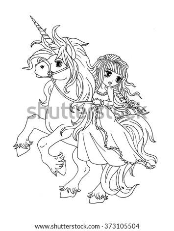 Princess Riding A Unicorn Coloring