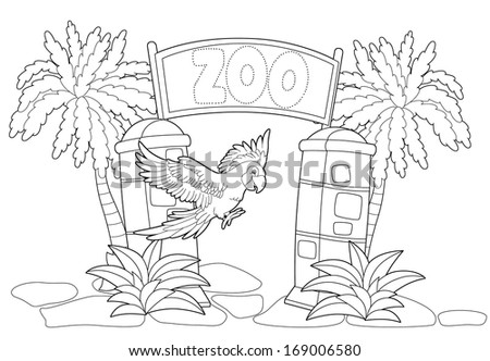 zoo entrance colouring pagesZoo Entrance Coloring Page