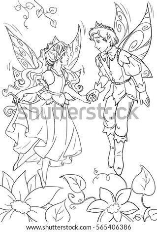 Coloring Page Thumbelina Flowerfairy King Stock Illustration ...
