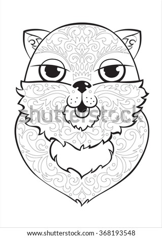 coloring page with a cat face, decorated with floral ornament, coloring for kids and adults - stock photo