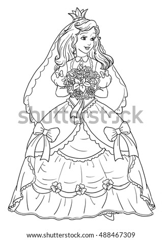 Coloring page beautiful princess bride 488467309 for Beautiful princess coloring pages
