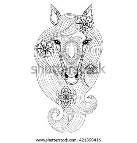 Coloring Page Horse Face Hand Drawn Stock Illustration 421850416 ...