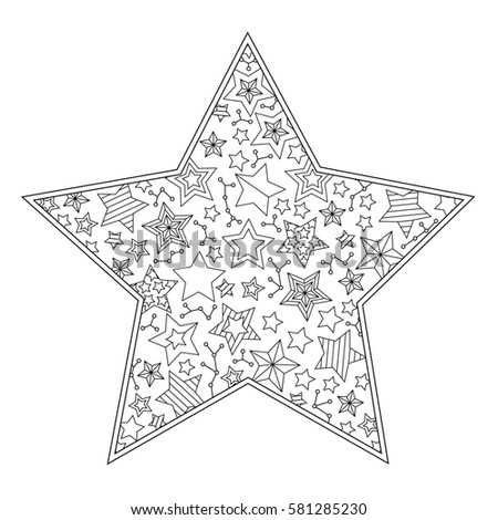 coloring page with mandala star shape isolated on white background square composition coloring book