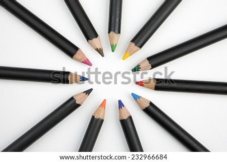 Coloring pencils in a circle. - stock photo