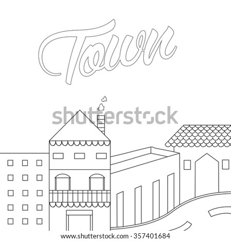house drawing structure lines blueprint roof stock vector