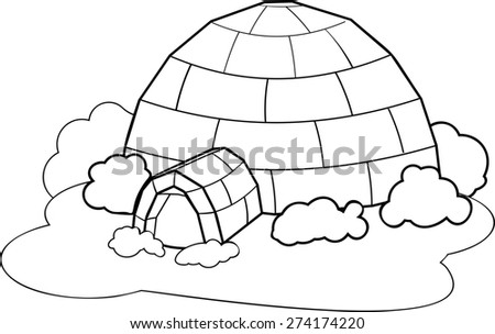 Coloring with igloo - stock photo