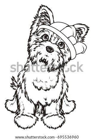 coloring Yorkshire terrier girl in hat with a bow