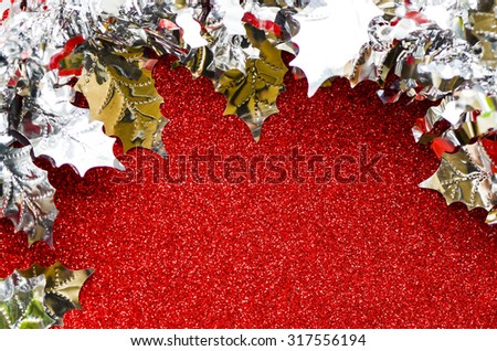 Colorized metallic christmas banners with open space for holiday texts / Blank Christmas banners / Promotion of festive and holiday seasons - stock photo