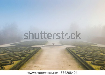 COLORNO, ITALY - DECEMBER 20, 2015: Old park in misty day in Colorno, Italy.
