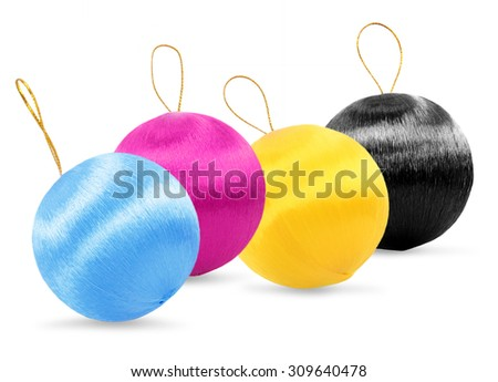 colors christmas decorations - stock photo