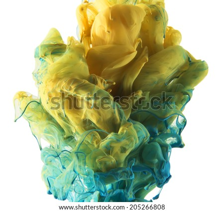 Colors dropped into liquid and photographed while in motion. Ink swirling in water. Cloud of silky ink in water isolated on white background. Colorful ink in water, ink drop.  - stock photo