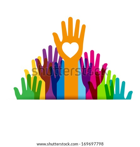 Colors hands up isolated on white background - Illustration  - stock photo