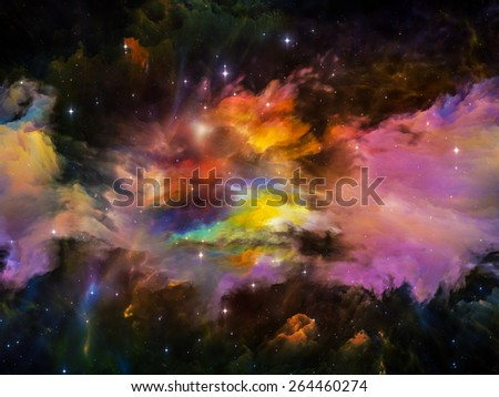 Colors in Space series. Arrangement of colorful clouds and space elements on the subject of art, creativity, imagination, science and design - stock photo