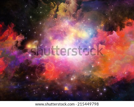 Colors in Space series. Artistic background made of colorful clouds and space elements for use with projects on art, creativity, imagination, science and design - stock photo
