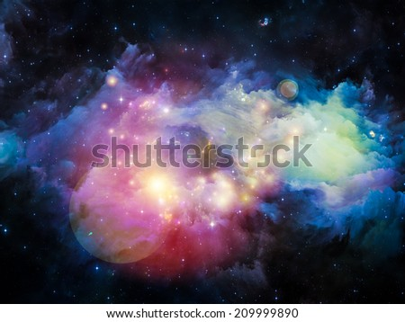 Colors in Space series. Backdrop design of colorful clouds and space elements to provide supporting composition for works on art, creativity, imagination, science and design