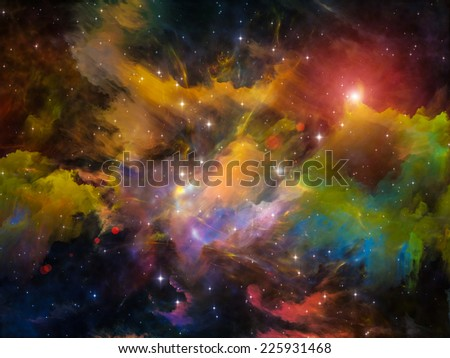 Colors in Space series. Background design of colorful clouds and space elements on the subject of art, creativity, imagination, science and design - stock photo