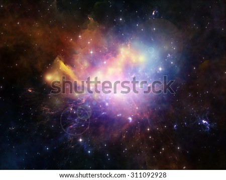 Colors in Space series. Background design of colorful clouds and space elements on the subject of art, creativity, imagination, science and design