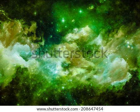 Colors in Space series. Composition of  colorful clouds and space elements to serve as a supporting backdrop for projects on art, creativity, imagination, science and design