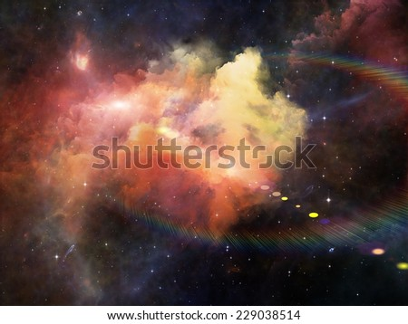 Colors in Space series. Design composed of colorful clouds and space elements as a metaphor on the subject of art, creativity, imagination, science and design