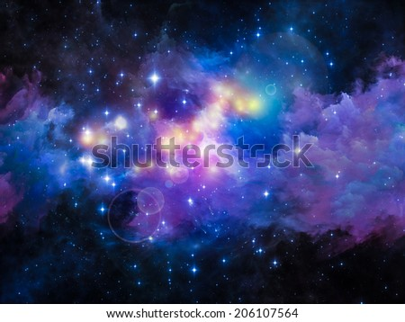 Colors in Space series. Design made of colorful clouds and space elements to serve as backdrop for projects related to art, creativity, imagination, science and design