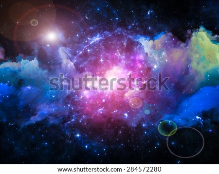 Colors in Space series. Design made of colorful clouds and space elements to serve as backdrop for projects related to art, creativity, imagination, science and design - stock photo