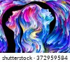 Colors In Us series. Abstract design made of Human profiles and swirls of colorful paint on the subject of emotion, passion, desire, feelings, inner world, imagination and creativity - stock vector