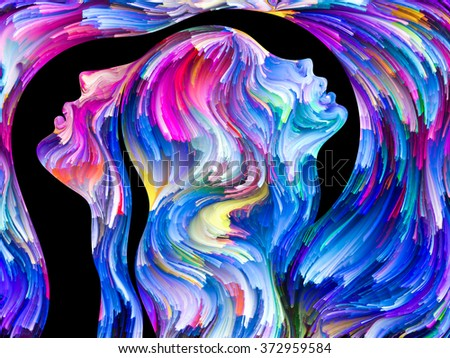 Colors In Us series. Abstract design made of Human profiles and swirls of colorful paint on the subject of emotion, passion, desire, feelings, inner world, imagination and creativity - stock photo