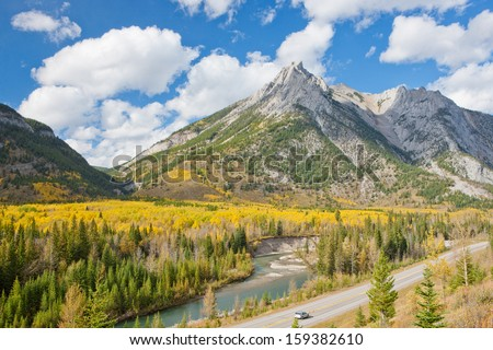 Colors of Autumn in Western Canada - Jasper National Park - stock photo