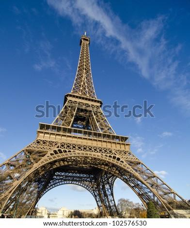 Colors of Eiffel Tower in Paris, Winter Season - stock photo