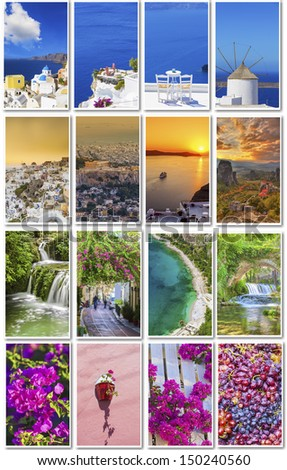 Colors of Greece collage - stock photo