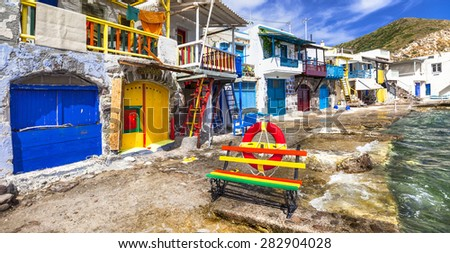 colors of Greece - traditional fishing village Klima, Milos isla - stock photo