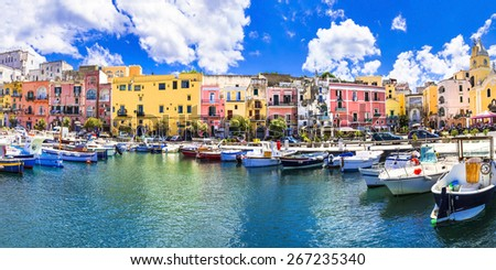 colors of mediterranean series - Procida island, Italy - stock photo