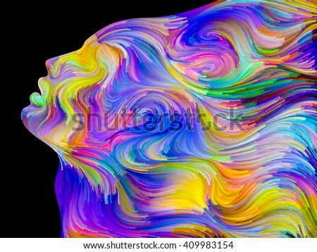Colors of Passion series. Artistic background made of colorful human profile executed in surreal painting style for use with projects on dreams, passions, creativity and imagination