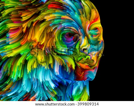 Colors of Passion series. Background design of colorful human profile executed in surreal painting style on the subject of dreams, passions, creativity and imagination - stock photo