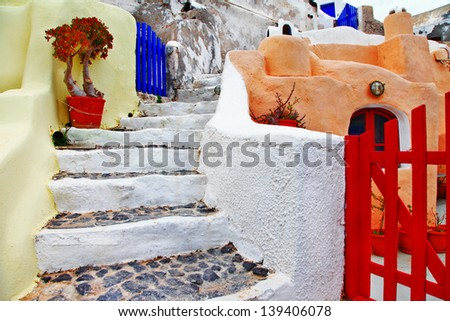 colors of Santorini series - pictorial detail of Oia village - stock photo