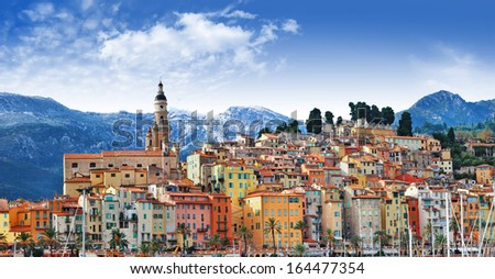 colors of Southern Europe - Menton - beautiful town, border Franc - stock photo