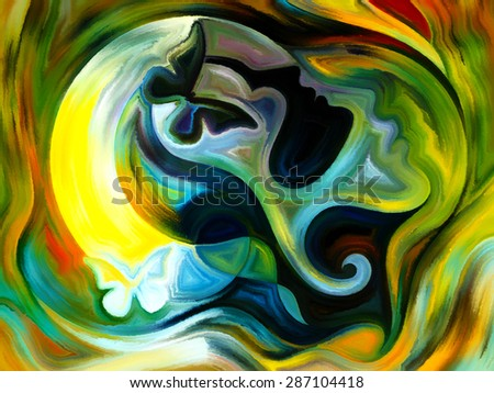 Colors of the Mind series. Arrangement of elements of human face, and colorful abstract shapes on the subject of mind, reason, thought, emotion and spirituality - stock photo