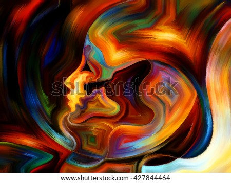 Colors of the Mind series. Backdrop composed of elements of human face, and colorful abstract shapes and suitable for use in the projects on mind, reason, thought, emotion and spirituality