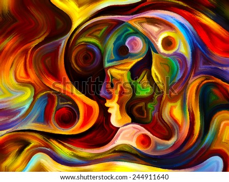 Colors of the Mind series. Backdrop design of elements of human face, and colorful abstract shapes to provide supporting composition for works on mind, reason, thought, emotion and spirituality - stock photo