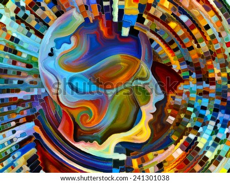 Colors of the Mind series. Backdrop of elements of human face, and colorful abstract shapes on the subject of mind, reason, thought, emotion and spirituality - stock photo