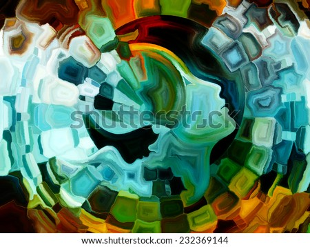 Colors of the Mind series. Creative arrangement of elements of human face, and colorful abstract shapes to act as complimentary graphic for subject of mind, reason, thought, emotion and spirituality - stock photo
