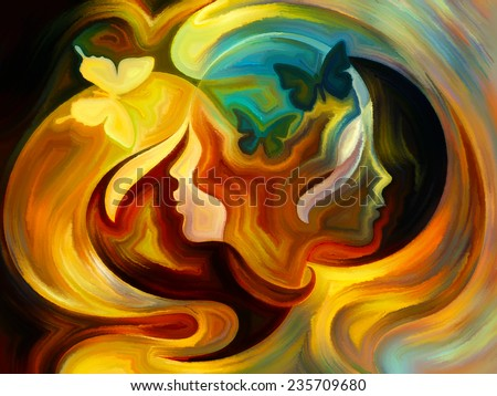 Colors of the Mind series. Creative arrangement of elements of human face, and colorful abstract shapes as a concept metaphor on subject of mind, reason, thought, emotion and spirituality - stock photo