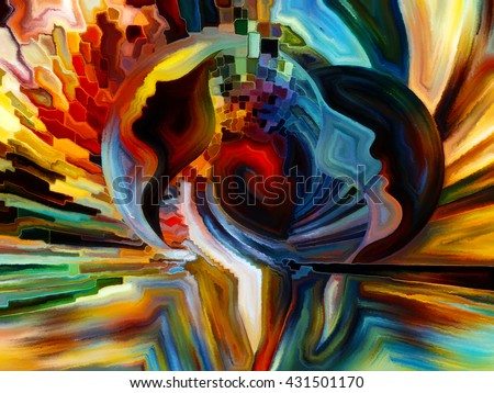 Colors of the Mind series. Creative arrangement of elements of human face, and colorful abstract shapes as a concept metaphor on subject of mind, reason, thought, emotion and spirituality