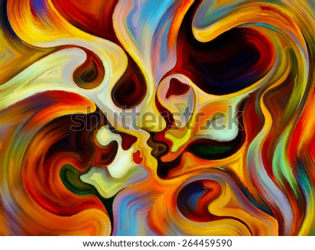Colors of the Mind series. Design made of elements of human face, and colorful abstract shapes to serve as backdrop for projects related to mind, reason, thought, emotion and spirituality - stock photo