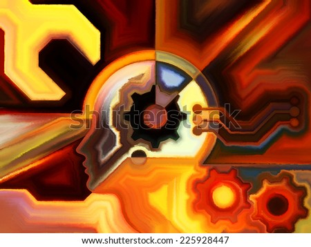 Colors of the Mind series. Visually attractive backdrop made of elements of human face, and colorful abstract shapes suitable as element for layouts on mind, reason, thought, emotion and spirituality