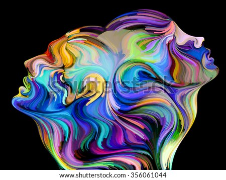 Colors of Unity series. Abstract design made of colorful and surreal human profiles on the subject of love, passion, romantic attraction and unity - stock photo