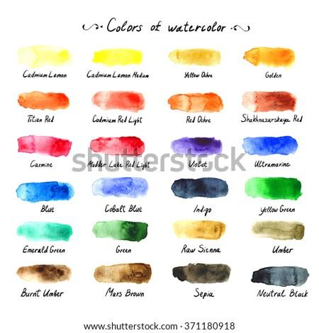 Colors of watercolor. The artistic palette with text list. Hand painting with brush paint tone. Watercolor blot, smudge, blotch, spot, tone, hue. - stock photo