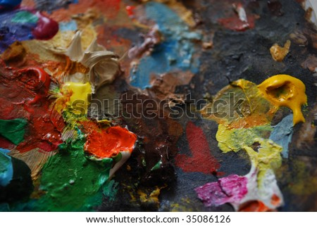 colors on painters palette