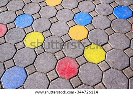 Colors paint on pavement in school - stock photo