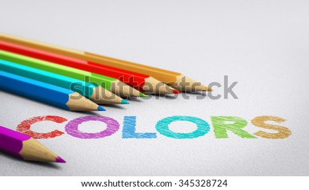 Colors word handwritten on a paper texture with six wooden pencils sourrounding it. Concept image for testing color combination or arrangement. - stock photo